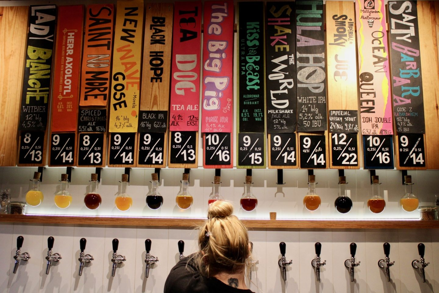 best bars in wroclaw, craft beer bars in Wroclaw: a selection of beer taps and a person pouring beer from one of them