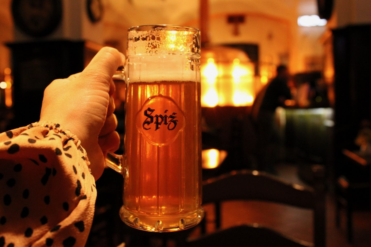 best bars in wroclaw, craft beer bars in Wroclaw: hand holding up a beer with Spiz written on the glass and a copper beer vat out of focus in the background