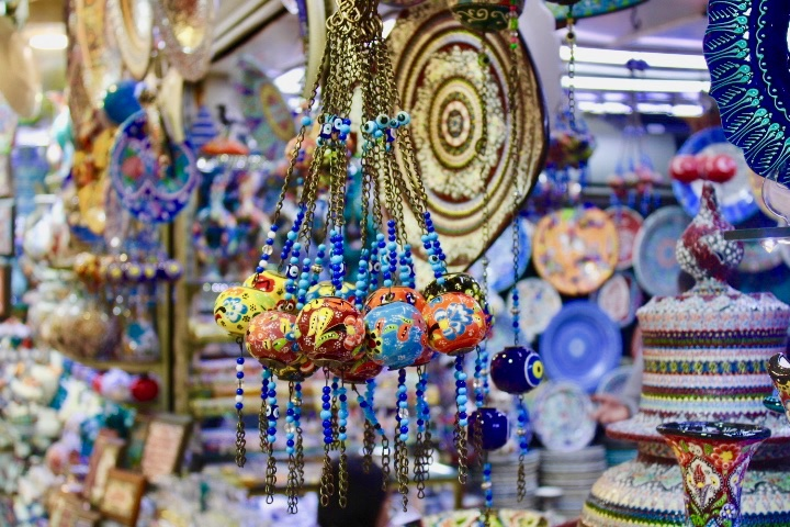 cheap european city break - hanging decorations inside the Grand Bazaar in Istanbul