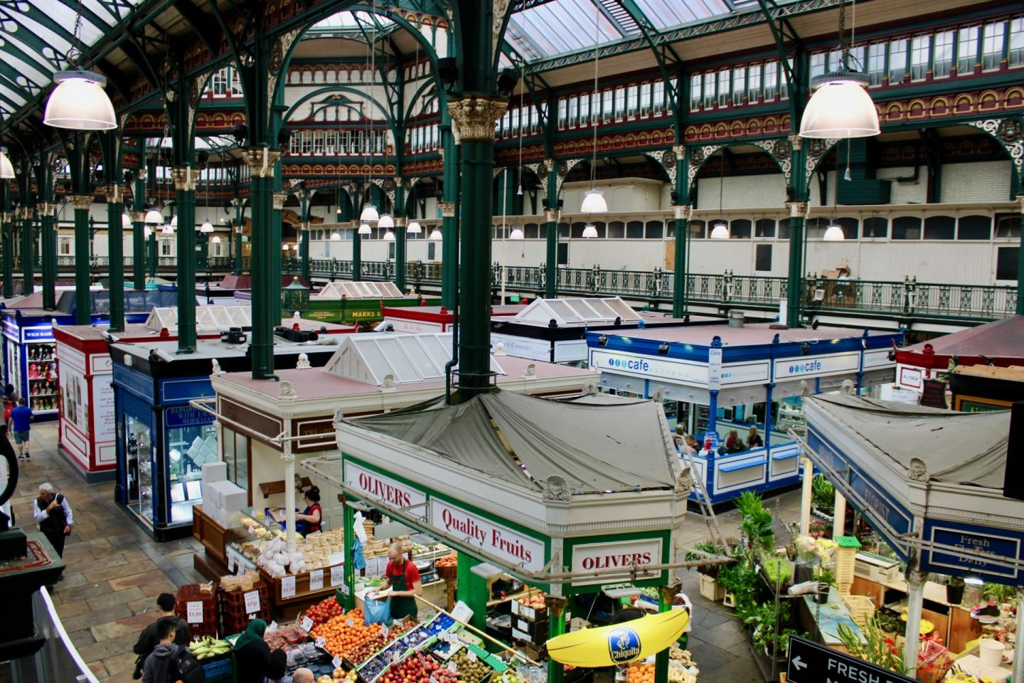 things to do in Leeds city centre - a shot of Kirkgate market taken from the balcony of the 1904 hall