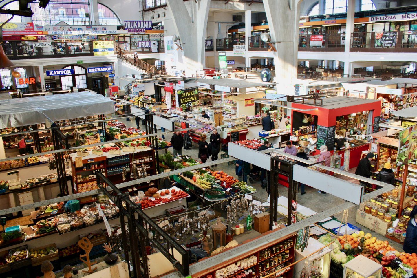 things to do in Wrocław: a shot of the market hall taken from the balcony