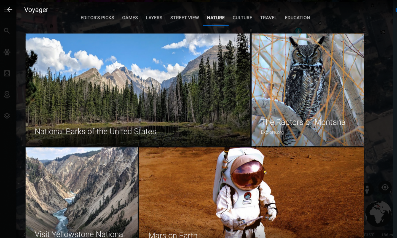 virtual travel experiences: screenshot of Google Earth Navigator under the Nature tab