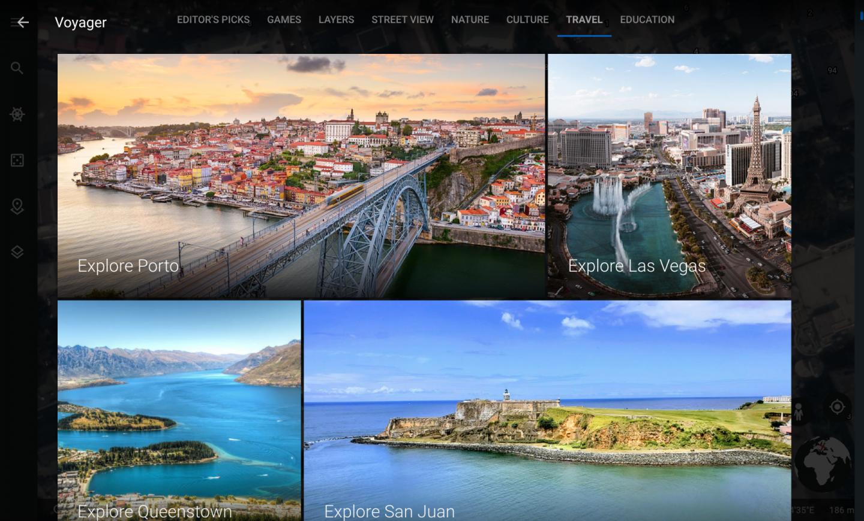 virtual travel experiences: screenshot of Google Earth Navigator under the Travel tab