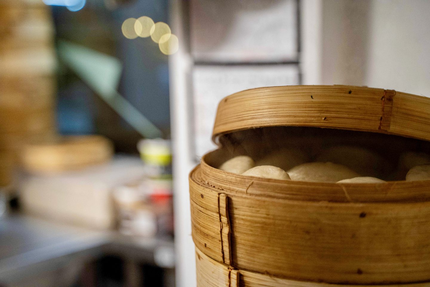 Leeds Food Tours, what to do in Leeds: bao buns steaming in a huge bamboo steamer