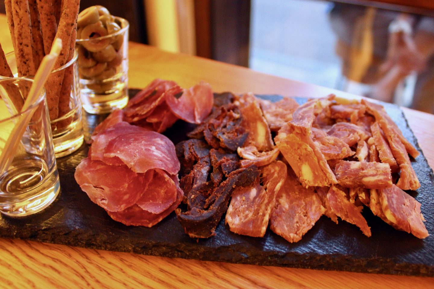 traditional bulgarian food in sofia: a plate of cured meats