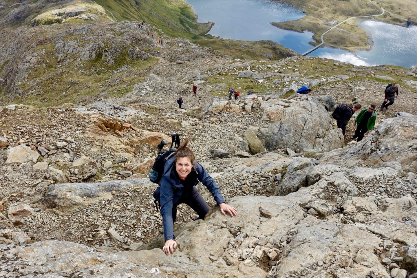 crib goch route up snowdon: nell scrambling up Bad Step to the ridge