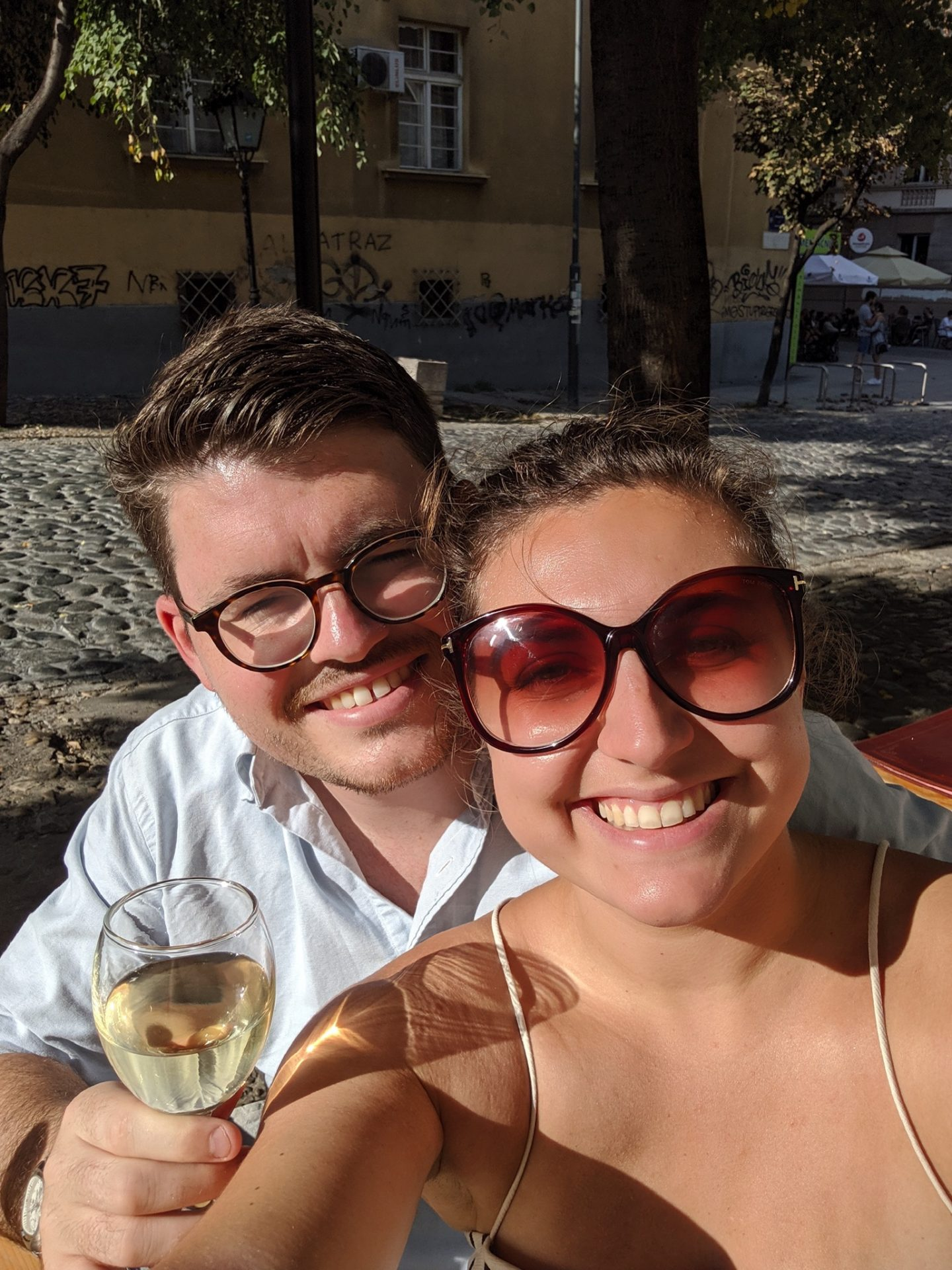 visit belgrade - Nell and Billy enjoying a glass of wine in the sunshine