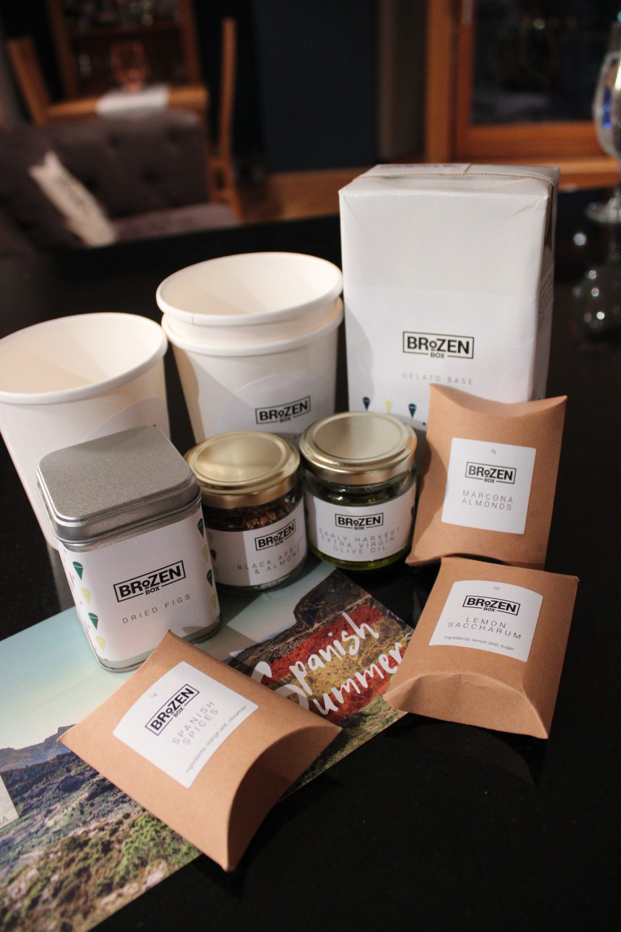 Best foodie subscription boxes: the contents of a brozen gelato subscription box showing a mixture of jars, tubs and a carton of gelato base